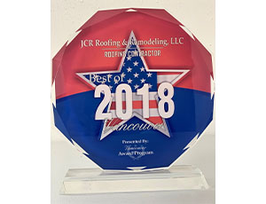 JCR Roofing Best of 2018 Award